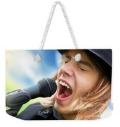 A Young Man Sings To A Microphone Weekender Tote Bag