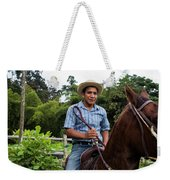 A Young Man Sits On A Horse And Smiles Weekender Tote Bag