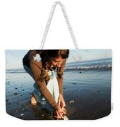 A Young Woman Collects Seashells Weekender Tote Bag