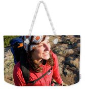 A Young Woman Hiking On Cadillac Weekender Tote Bag