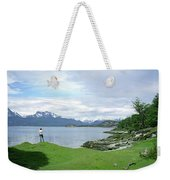 A Young Woman Looks Out Over The Sea Weekender Tote Bag