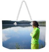 A Young Woman Looks Out Over Unna Lake Weekender Tote Bag