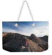 A Young Woman On A Narrow Ridge Weekender Tote Bag