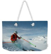 A Young Woman Skis The Backcountry Weekender Tote Bag