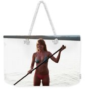 A Young Woman Smiles While Stand Weekender Tote Bag