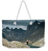 A Young Woman Takes In The View While Weekender Tote Bag