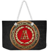 Aa Initials - Gold Antique Monogram On Black Leather Weekender Tote Bag