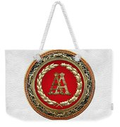 Aa Initials - Gold Antique Monogram On White Leather Weekender Tote Bag