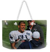 Aaron Hernandez With Patriots Coaches Weekender Tote Bag
