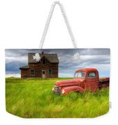 Abandoned Homestead House And Red Weekender Tote Bag