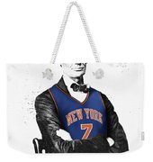 Abe Lincoln In A Carmelo Anthony New York Knicks Jersey Weekender Tote Bag