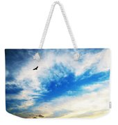 Above The Clouds - American Bald Eagle Art Painting Weekender Tote Bag by Sharon Cummings