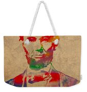 Abraham Lincoln Watercolor Portrait On Worn Distressed Canvas Weekender Tote Bag