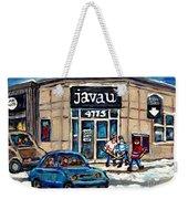 Montreal Art Exhibit At Java U Carole Spandau Montreal Street Scenes Paintings Hockey Art  Weekender Tote Bag