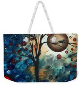 Abstract Art Contemporary Cat Bird Circle Of Life Collection Cat Perch By Madart Weekender Tote Bag