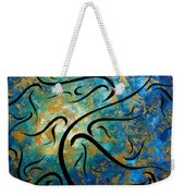 Abstract Art Gold Textured Original Tree Painting Peace And Desire By Madart Weekender Tote Bag