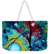 Abstract Art Landscape Tree Blossoms Sea Painting Under The Light Of The Moon I  By Madart Weekender Tote Bag