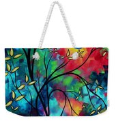 Abstract Art Landscape Tree Blossoms Sea Painting Under The Light Of The Moon II By Madart Weekender Tote Bag