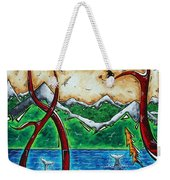 Abstract Art Original Alaskan Wilderness Landscape Painting Land Of The Free By Madart Weekender Tote Bag by Megan Duncanson