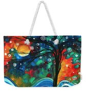 Abstract Art Original Landscape Colorful Painting First Snow Fall By Madart Weekender Tote Bag