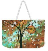 Abstract Art Original Landscape Painting Bold Circle Of Life Design Autumns Eve By Madart Weekender Tote Bag