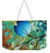 Abstract Art Original Landscape Painting Colorful Circles Morning Blues I By Madart Weekender Tote Bag