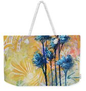 Abstract Art Original Landscape Painting Contemporary Design Blue Trees II By Madart Weekender Tote Bag