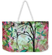 Abstract Art Original Whimsical Magical Bird Painting Through The Looking Glass  Weekender Tote Bag
