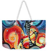 Abstract Art Whimsical Cityscape Funky Houses Homeland By Madart Weekender Tote Bag by Megan Duncanson