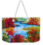 Abstract - Autumn Blaze On Catskill Creek Weekender Tote Bag
