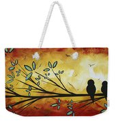 Abstract Bird Landscape Tree Blossoms Original Painting Family Of Three Weekender Tote Bag