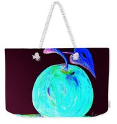Abstract Blue And Teal Apple On Black Weekender Tote Bag