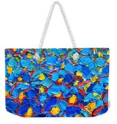 Abstract Blue Poppies In Sunrise -original Oil Painting Weekender Tote Bag