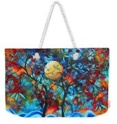 Abstract Contemporary Colorful Landscape Painting Lovers Moon By Madart Weekender Tote Bag