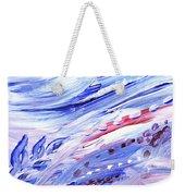 Abstract Floral Marble Waves Weekender Tote Bag
