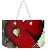 Abstract Heart Original Painting Valentines Day Heart Beat By Madart Weekender Tote Bag
