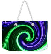 Abstract In Green And Purple Weekender Tote Bag