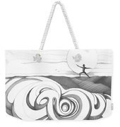 Abstract Landscape Art Black And White Yoga Zen Pose Between The Lines By Romi Weekender Tote Bag