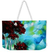 Abstract Landscape Art Original Tree And Moon Painting Blue Moon By Madart Weekender Tote Bag