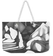 Abstract Landscape Rock Art Black And White By Romi Weekender Tote Bag
