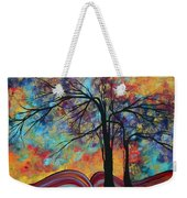 Abstract Landscape Tree Art Colorful Gold Textured Original Painting Colorful Inspiration By Madart Weekender Tote Bag