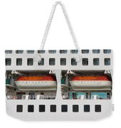 Abstract Of Lifeboats On A Large Cruise Ship Weekender Tote Bag