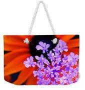 Abstract Orange And Purple Flower Weekender Tote Bag