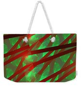 Abstract Tiled Green And Red Fractal Flame Weekender Tote Bag