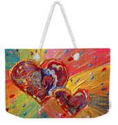 Abstract Valentines Love Hearts Weekender Tote Bag by Julia Apostolova