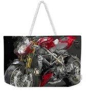 Abstracted Red Italian Street Racer Motorcycle Weekender Tote Bag