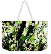 Abstraction Green And White Weekender Tote Bag