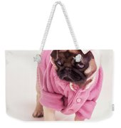 Adorable Pug Puppy In Pink Bow And Sweater Weekender Tote Bag
