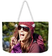 Adult Woman Laughing Out Loud While Weekender Tote Bag