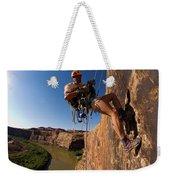 Adventure Racer Rappelling Over A River Weekender Tote Bag